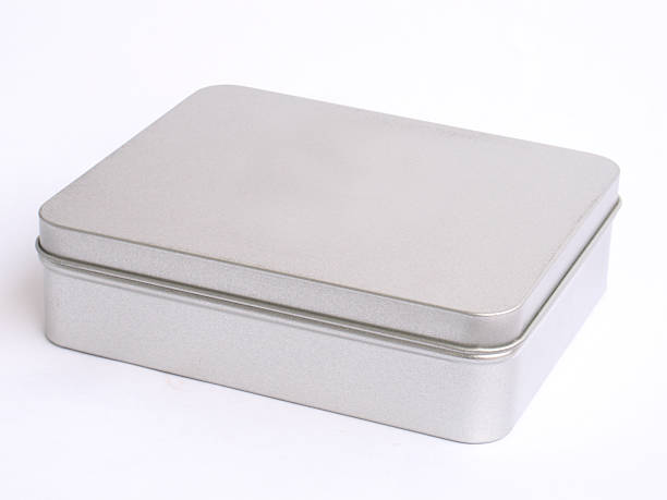 Metal gift box stock photo