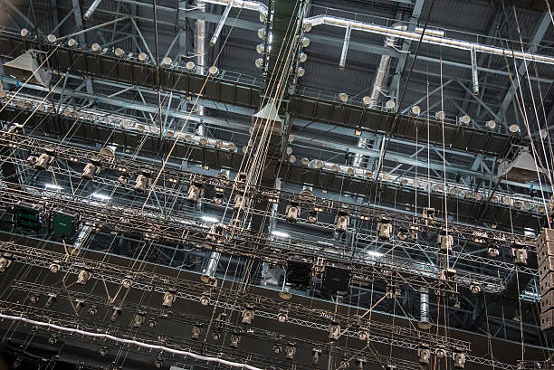 Metal girder extensive scaffolding providing platforms for stage structure support Extensive scaffolding providing platforms lighting devices for stage structure support rigging stock pictures, royalty-free photos & images