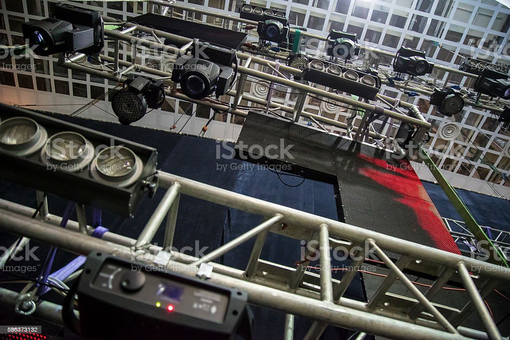 Metal girder extensive scaffolding providing platforms for stage structure support stock photo