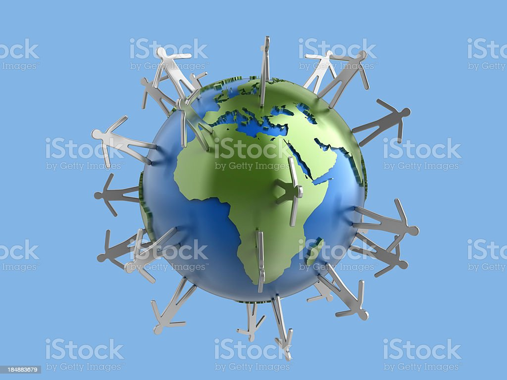Metal globe with human figures - Europe and Africa stock photo