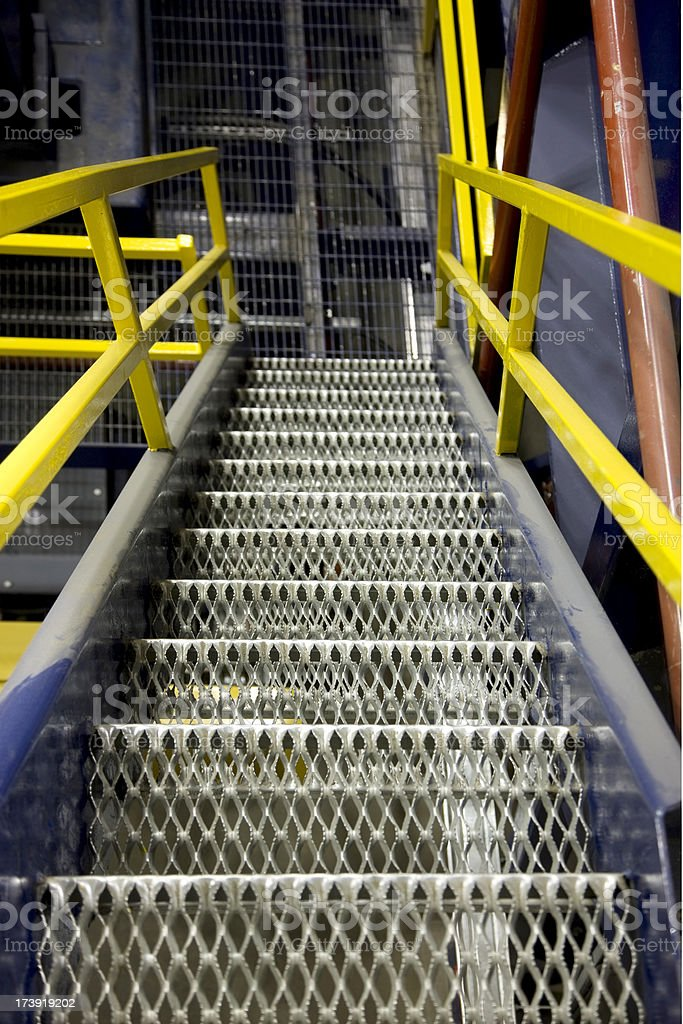 Metal Grated Stairs stock photo