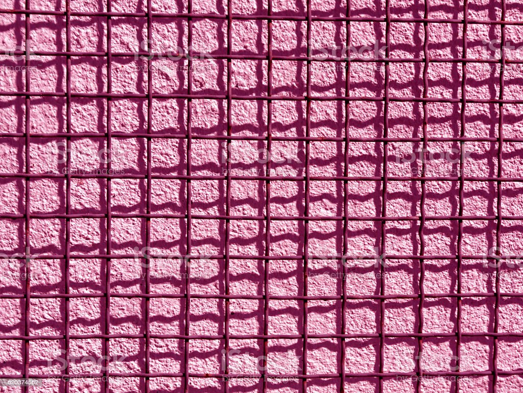 Metal grid and cement wall texture. zbiór zdjęć royalty-free
