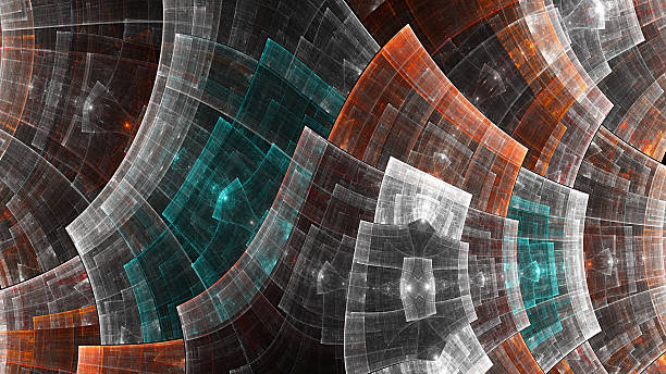 metal grid. protective field. - fractal stock photos and pictures