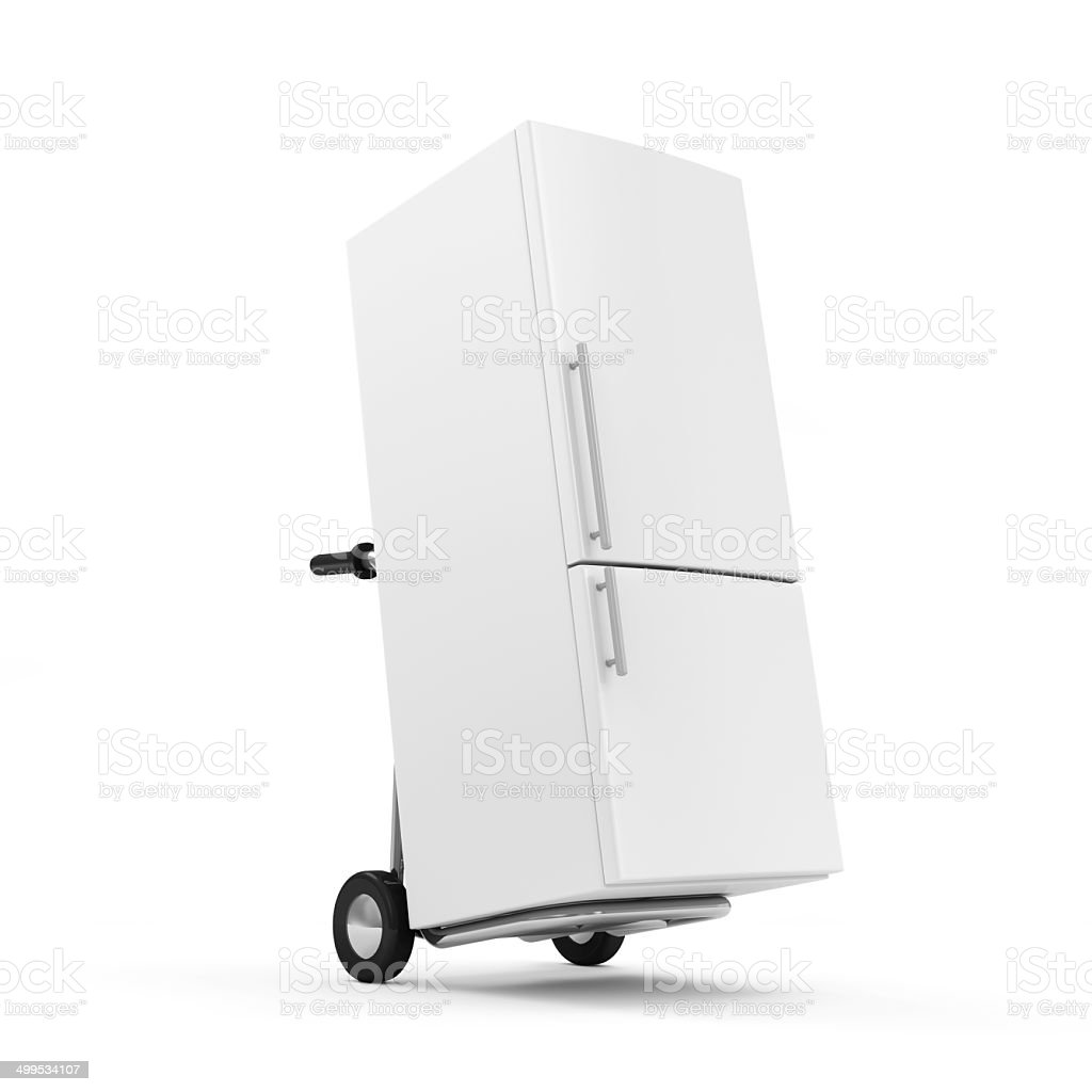 Metal Hand Truck with Refrigerator isolated on white background stock photo