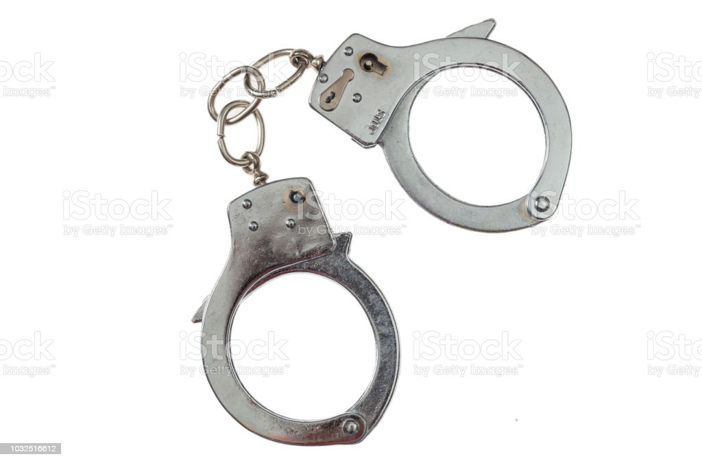 Metall-Handschellen isolierten auf weißen Hintergrund, Ansicht von oben – Foto