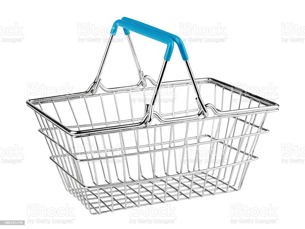 A metal handheld shopping basket stock photo