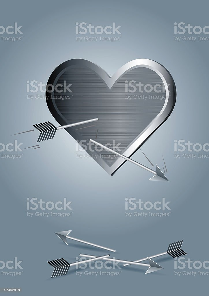 metal heart with broken arrows royalty-free stock photo