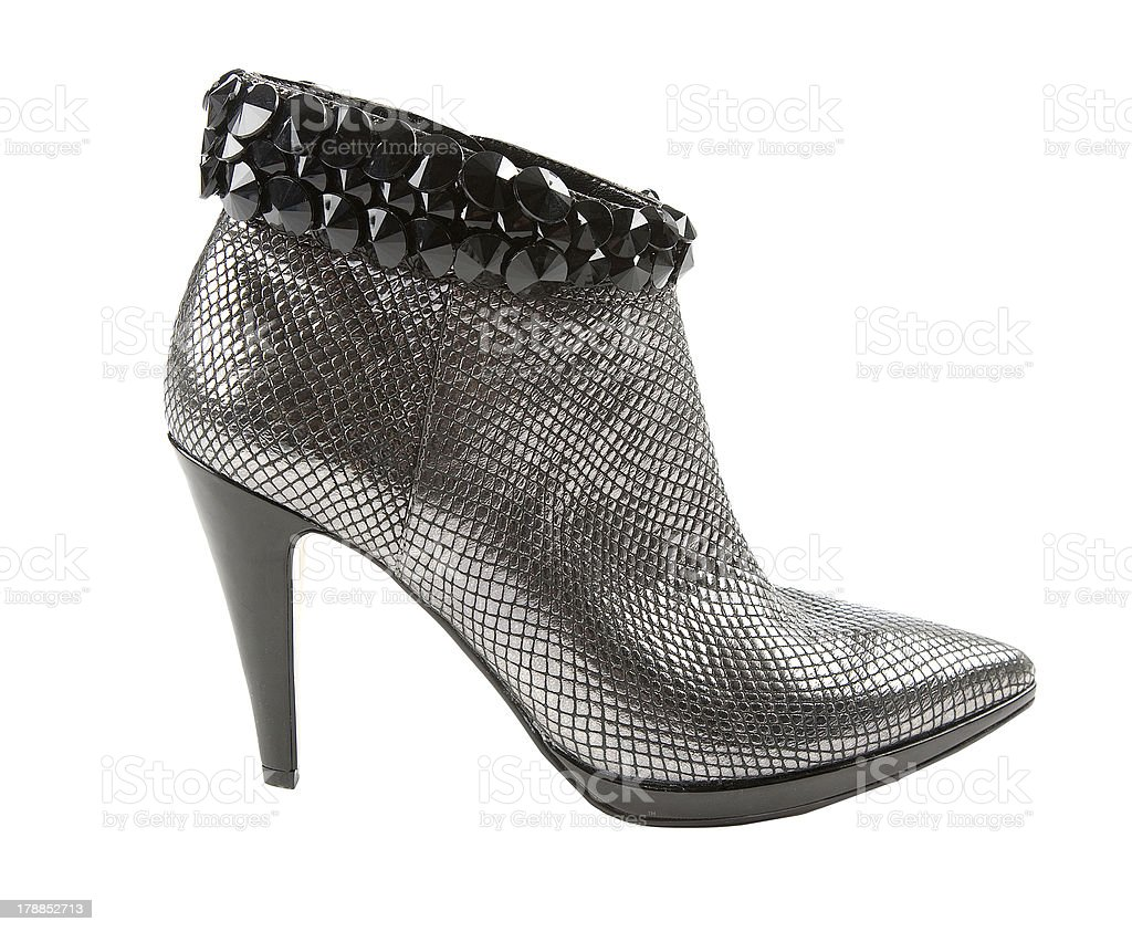 Metal heels short boot with crystals stock photo
