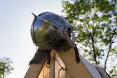 Metal helmet of ancient war close-up. Historical reconstruction