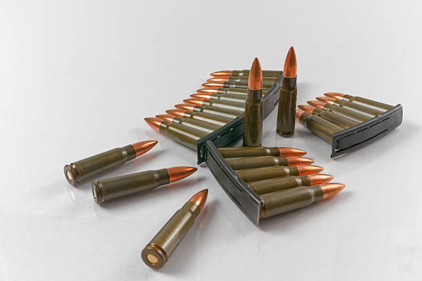 Metal jacket target shooting rifle stock photo