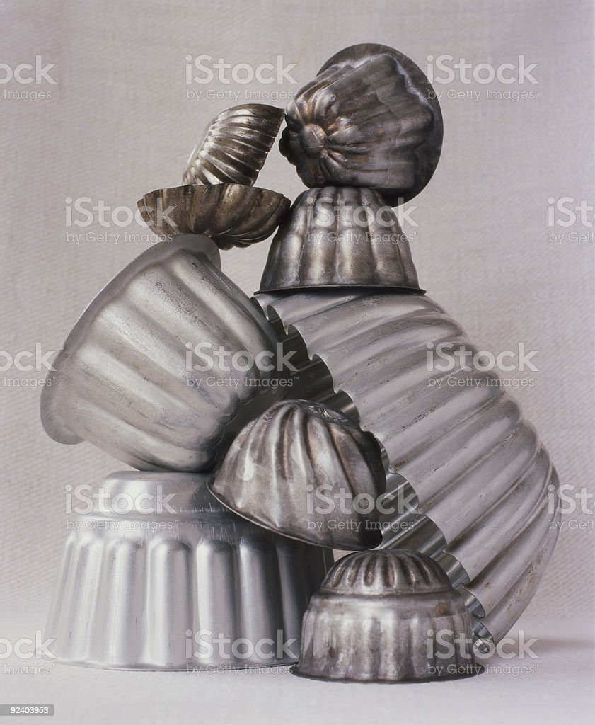 Metal jelly moulds royalty-free stock photo