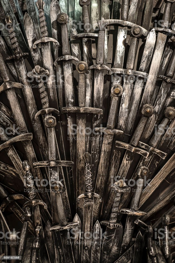 Metal knight swords background. stock photo