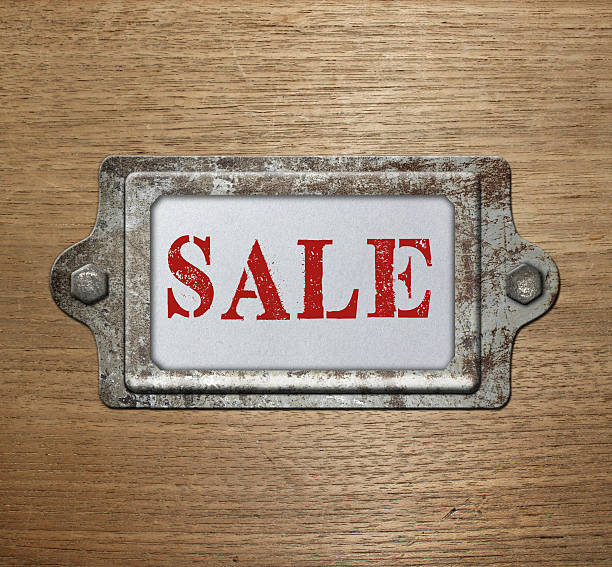 Metal label holder sale stock photo