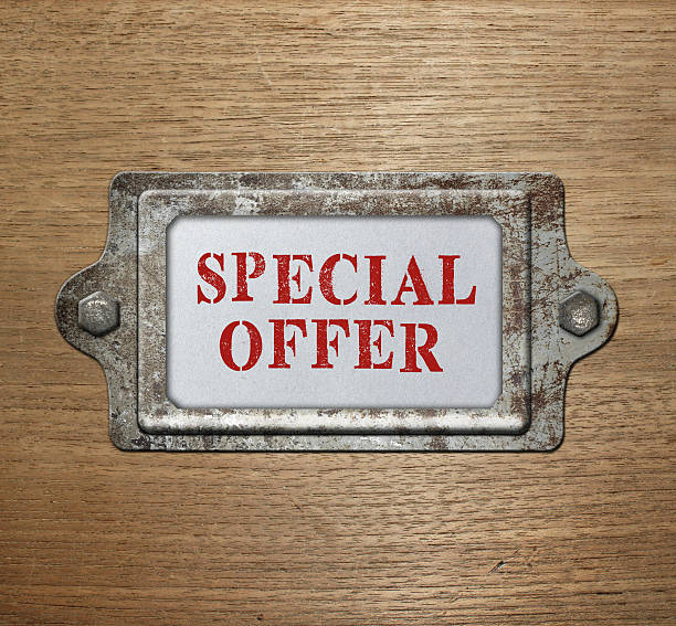 Metal label holder special offer stock photo