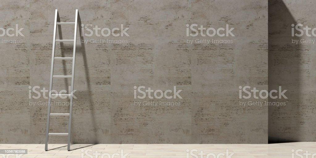 Metall-Leiter einer Steinmauer, Textfreiraum gelehnt. 3D illustration – Foto