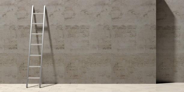 metalen ladder leunend tegen een stenen muur, kopie ruimte. 3d illustratie - ladder stockfoto's en -beelden