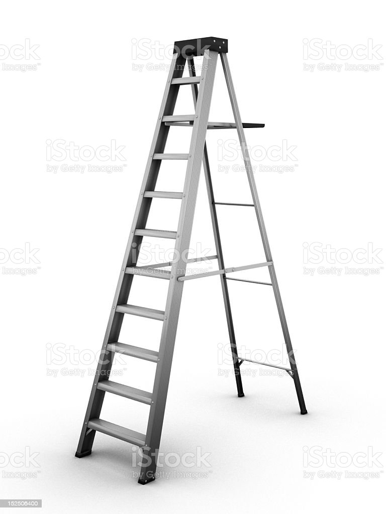 Metal ladder on a white background Realistic computer generated Aluminum Stock Photo