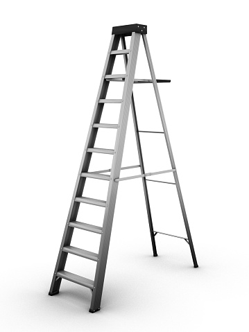 Metal Ladder On A White Background Stock Photo - Download Image Now