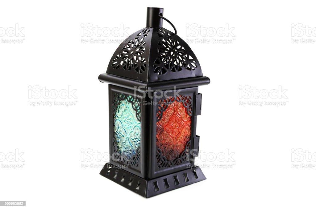 Metall Laterne dekorative Kerzenständer isoliert auf weißem Hintergrund - Lizenzfrei Antiquität Stock-Foto