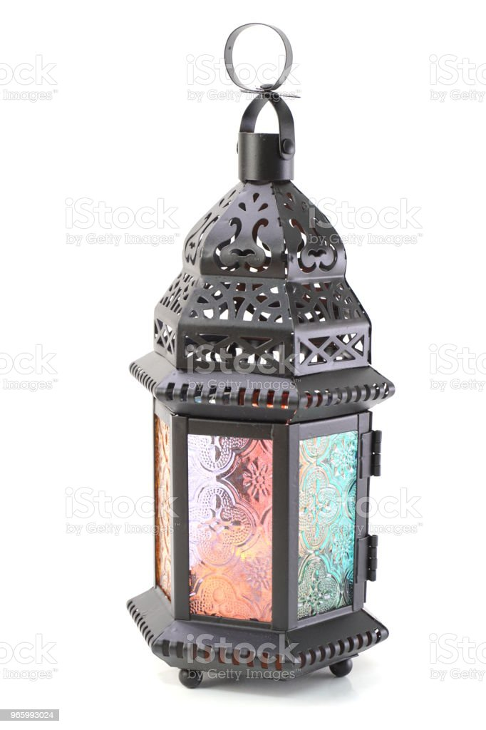 metal lantern decorative candle holder isolated on white background - Стоковые фото Антиквариат роялти-фри