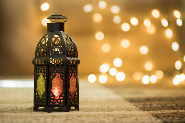 metal lantern with bokeh background - ramadan stock photos and pictures