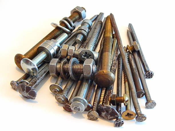 Metal Large Nails Bolts Washers And Nuts Stock Photo & More Pictures
