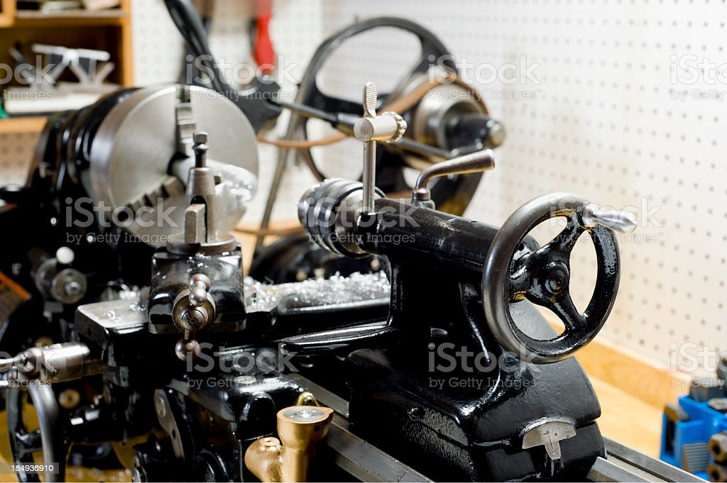 Metal Lathe in home workshop stock photo
