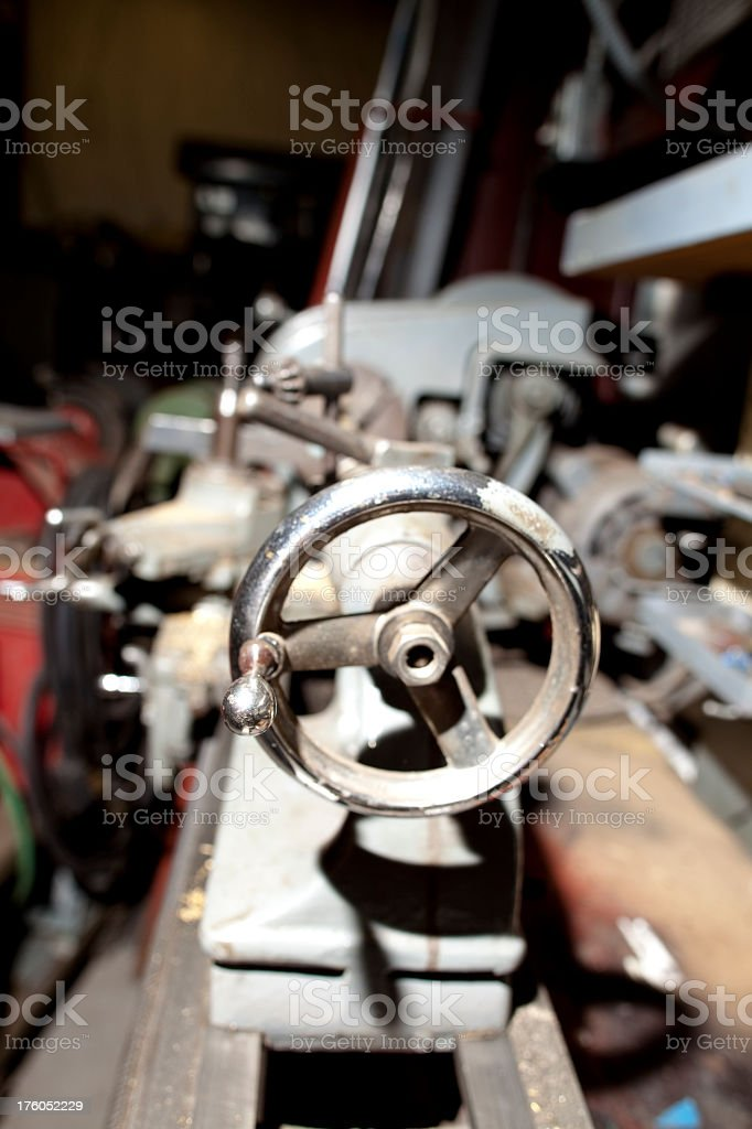 Metal lathe in workshop royalty-free stock photo