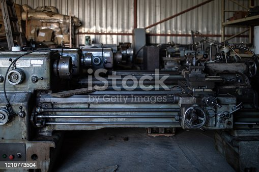 Metal lathe machine at metal industry