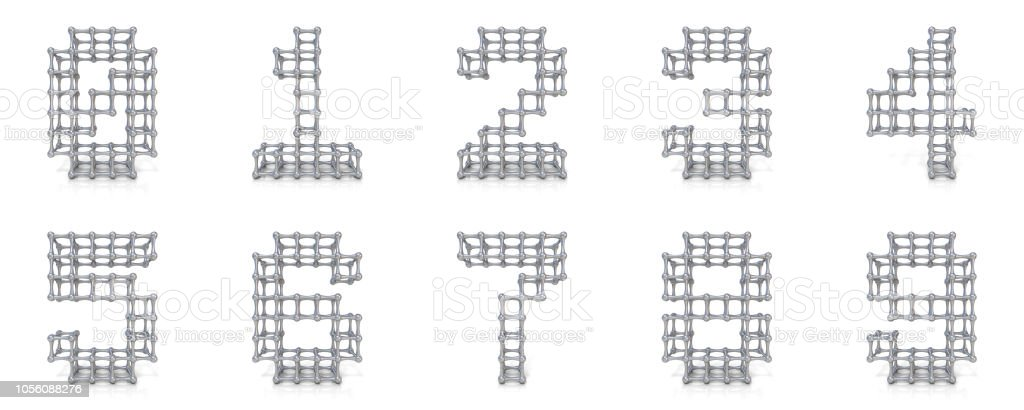 Metal lattice digits collection 3D stock photo