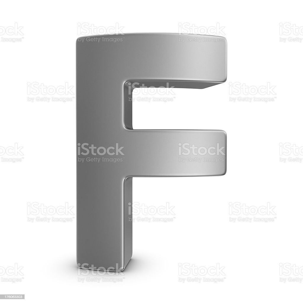 metal letter F royalty-free stock photo