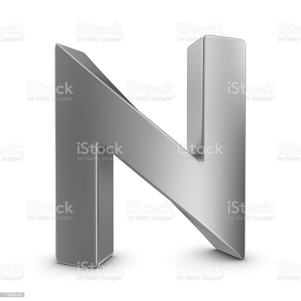 metal letter N stock photo