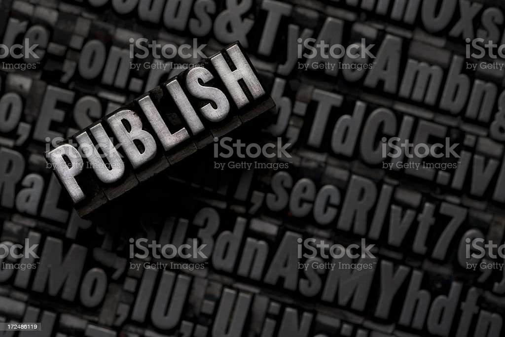 PUBLISH - Metal Letterpress Letters royalty-free stock photo