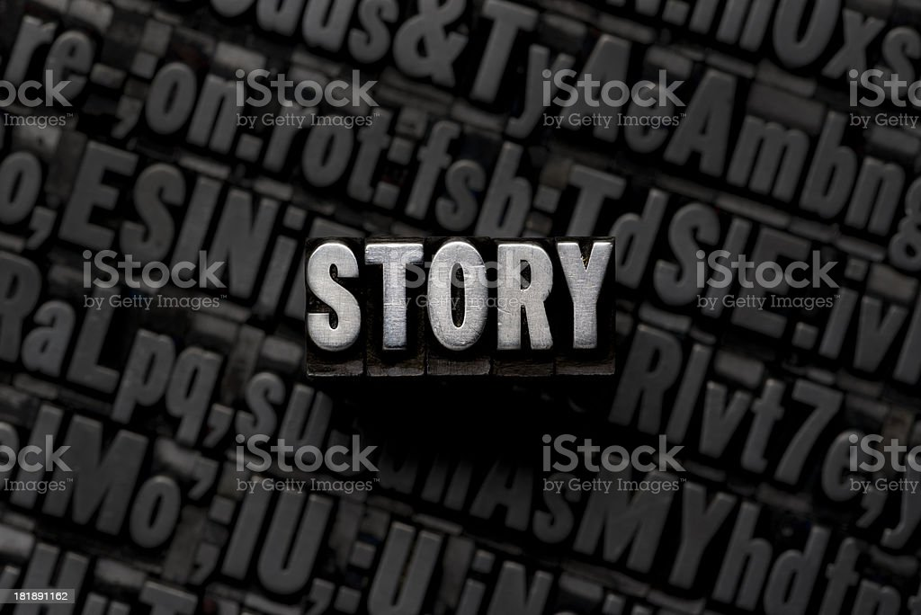 STORY - Metal Letterpress Letters royalty-free stock photo