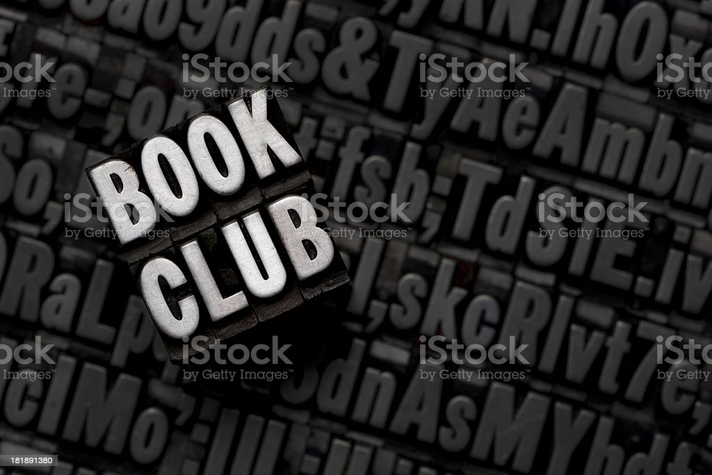 BOOK CLUB - Metal Letterpress Letters royalty-free stock photo