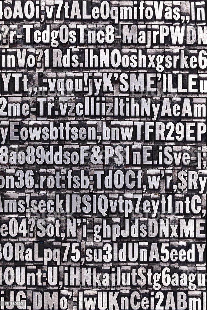 Metal Letterpress Letters stock photo