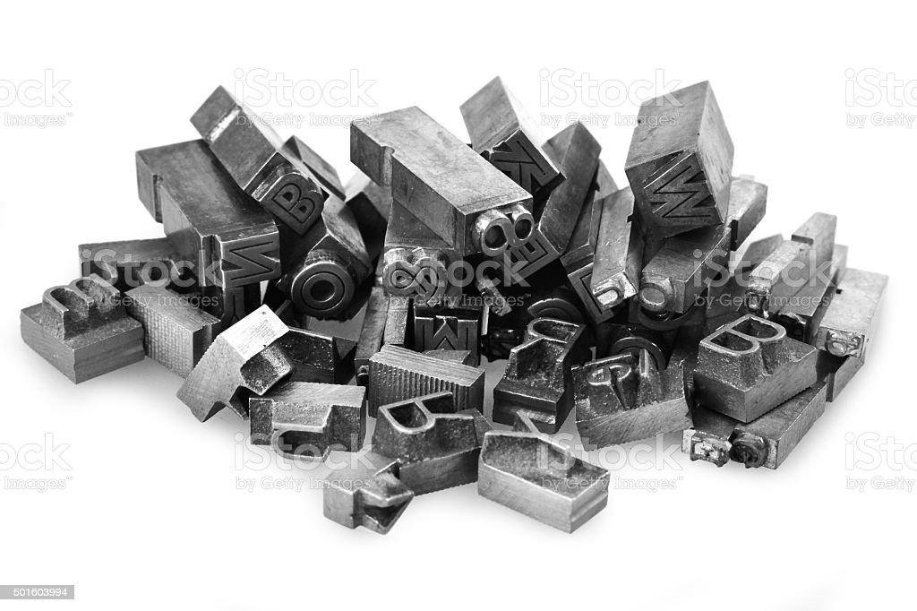Metal letterpress stock photo