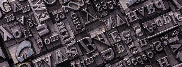 metal letterpress types - letterpress stock photos and pictures
