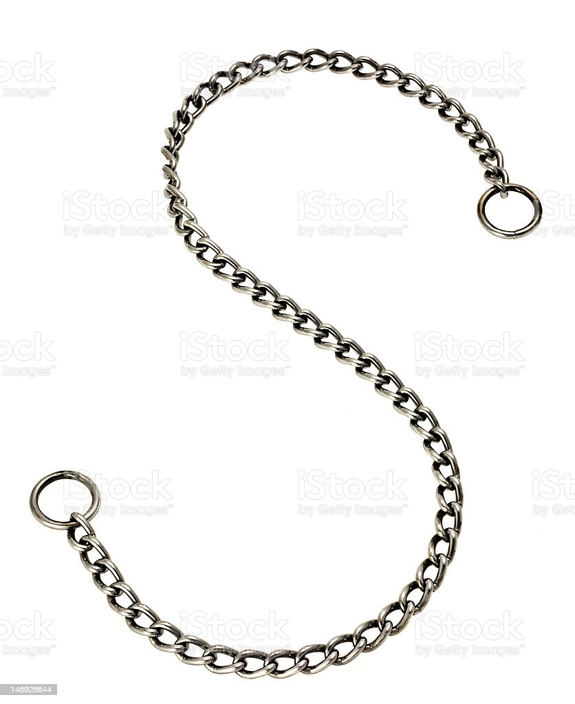 Metal Link Chain On White. stock photo