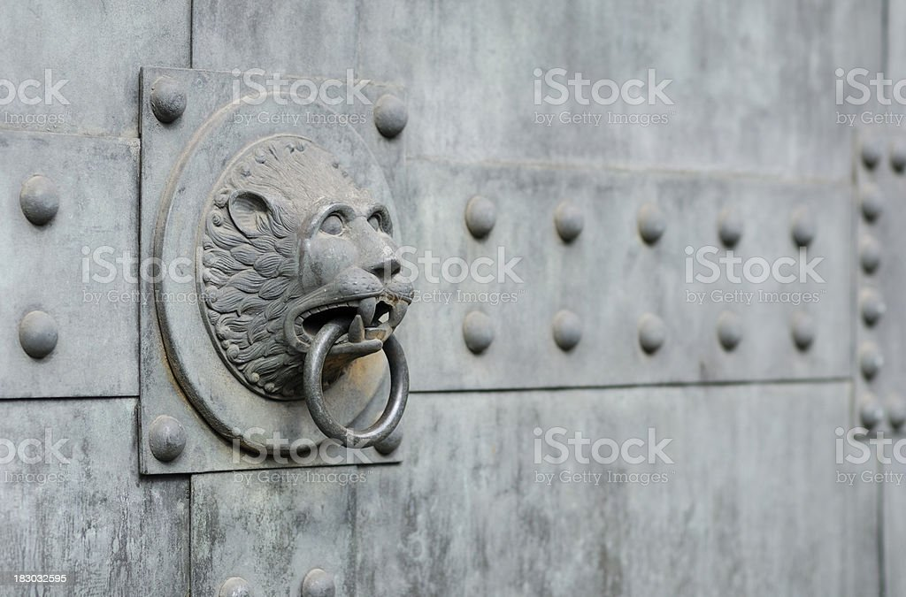 Metal lion head knocker royalty-free stock photo