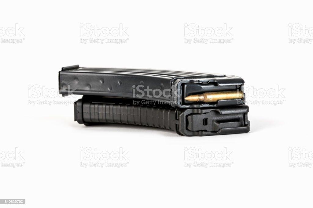 Metal magazine that carries. Empty cartridge for gun. stock photo