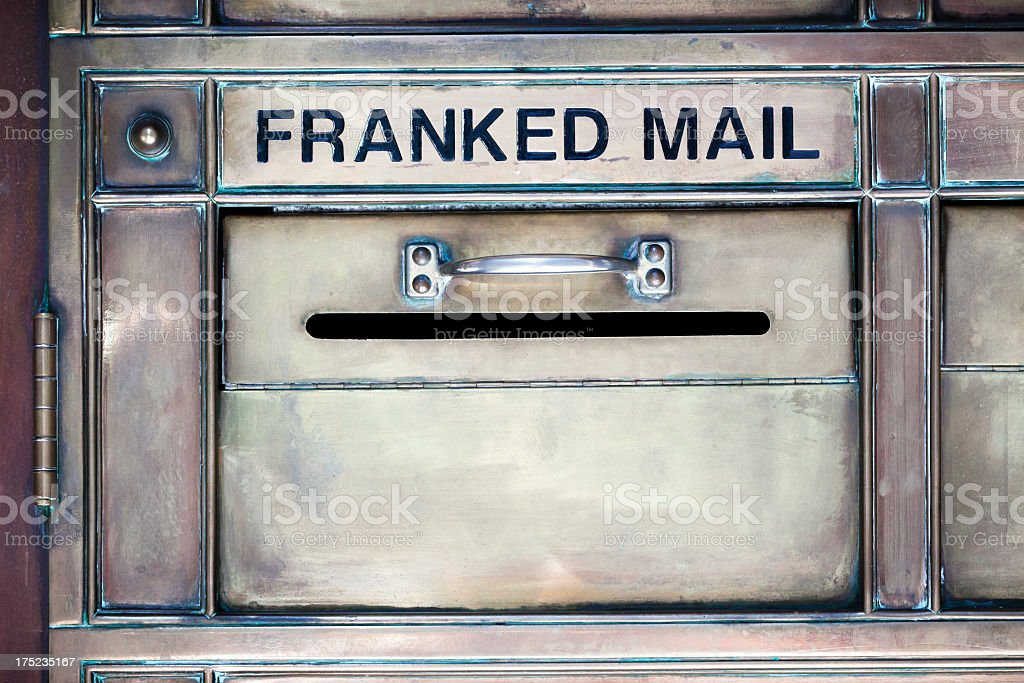 Metal mail box for Franked mail with handle royalty-free stock photo