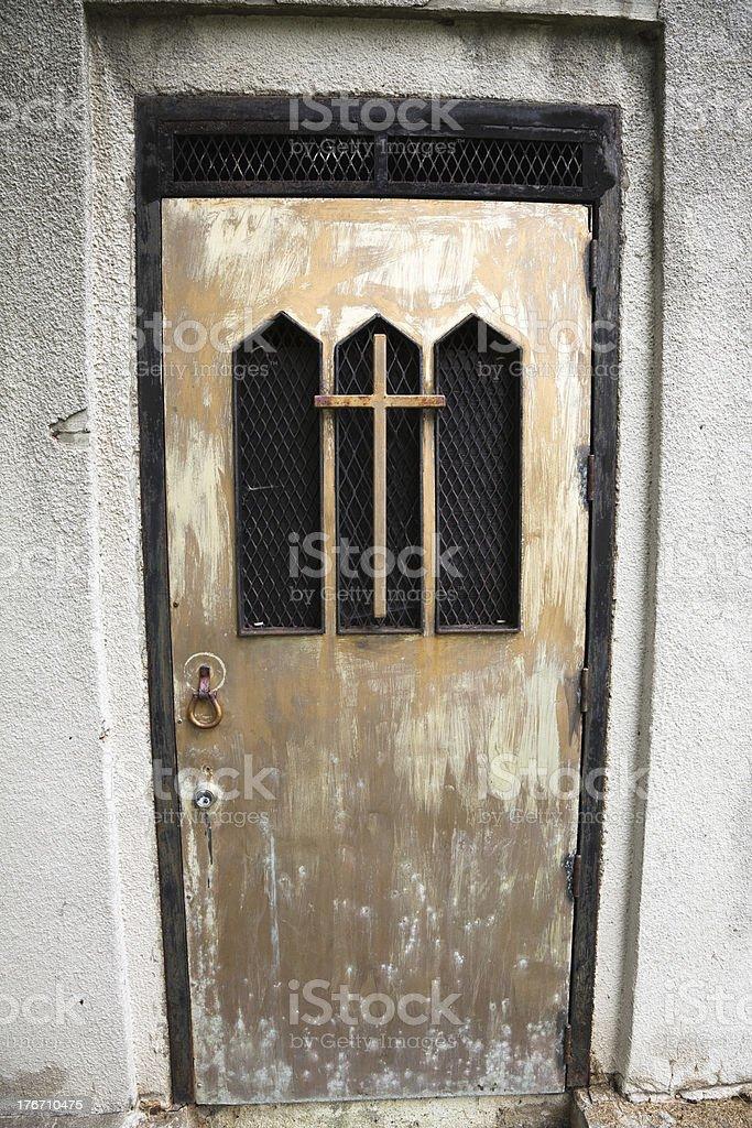 Metal mausoleum doorway royalty-free stock photo