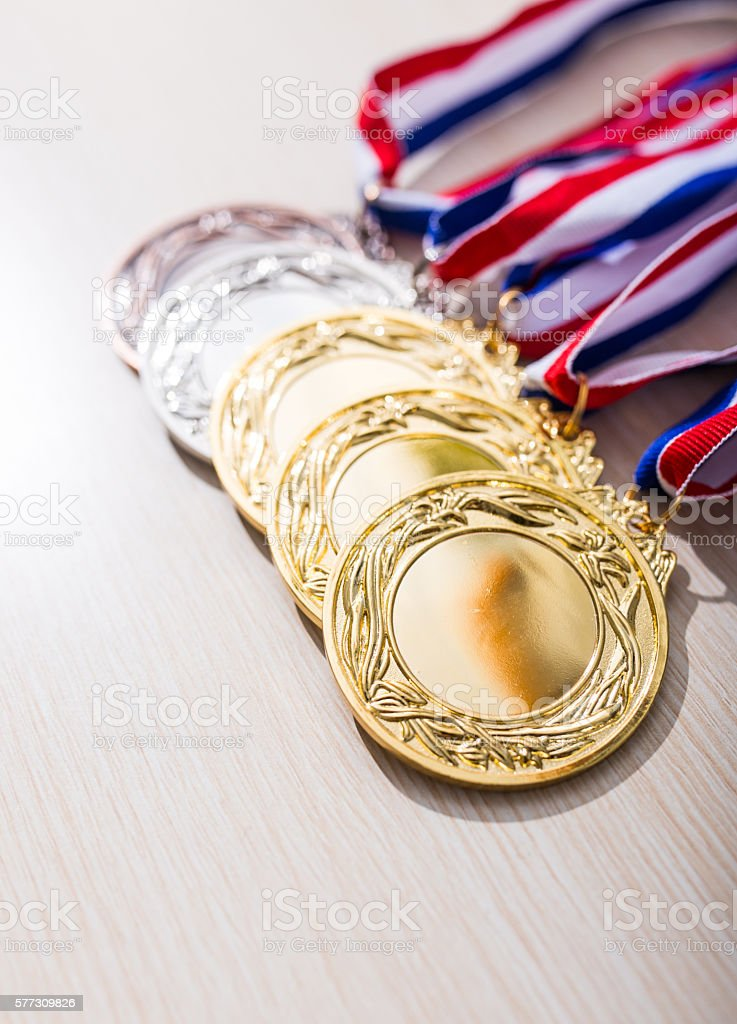 Metal medal with tricolor ribbon stock photo