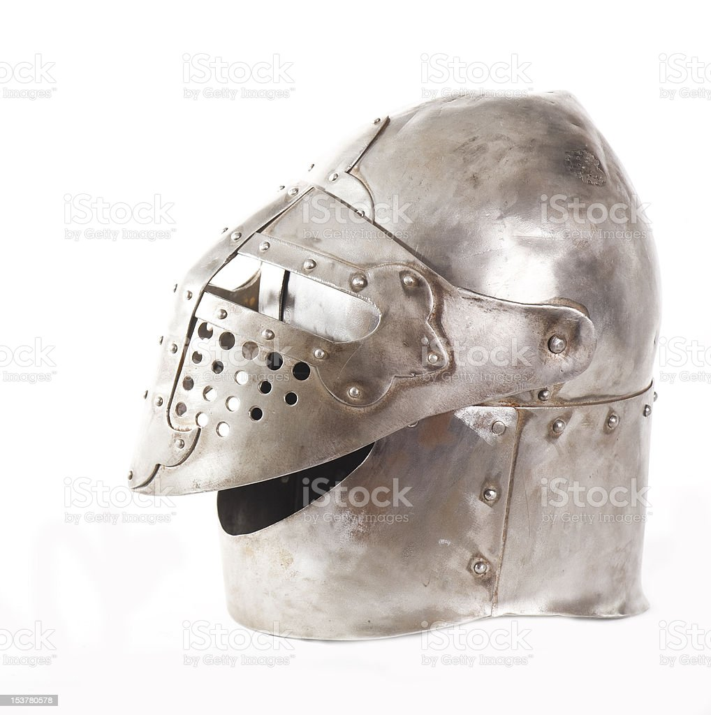 Metal medieval helmet Isolated on white royalty-free stock photo