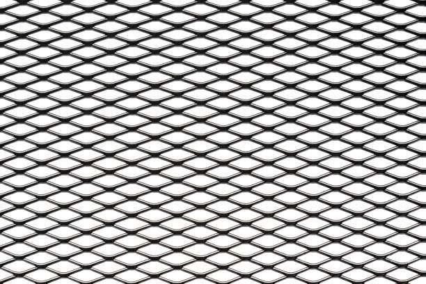 Metal mesh plating isolated against a white background stock photo