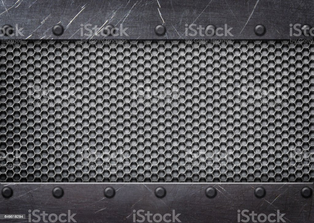 metal mesh reinforced plates and rivets, background stock photo