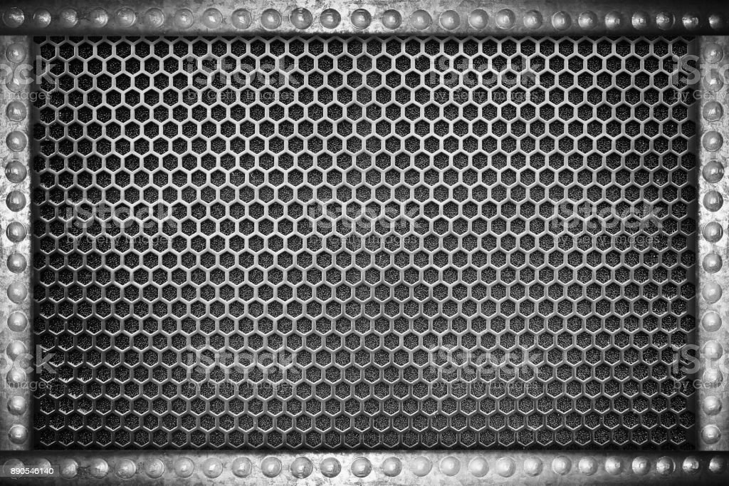 metal mesh seamless pattern background with metal rivets frame stock photo