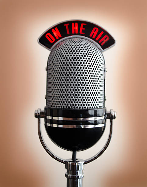 metal microphone - radio dj stock photos and pictures