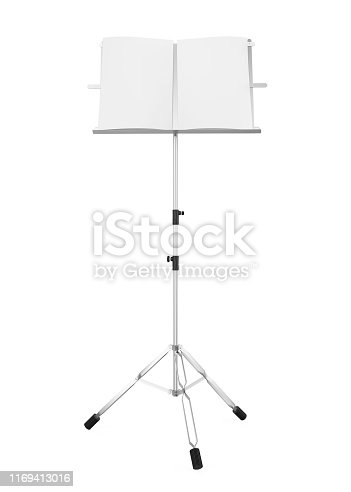 Metal Music Note Stand isolated on white background. 3D render